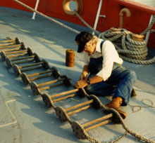Volunteer working on LV-112's ladder